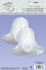 "White Honeycomb Wedding Bells 11"" 2Pk"